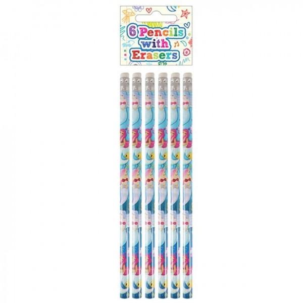 6 Meerjungfrauen Bleistifte mit Radiergummi