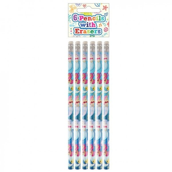 6 crayons sirène avec gomme