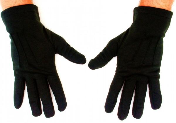 Short cotton gloves in black