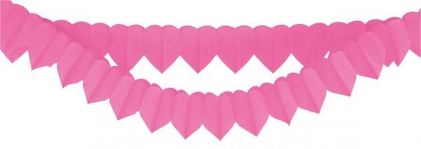 2 pink Valentine's Day heart garlands 2m