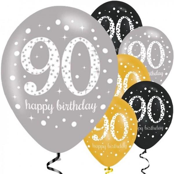 90e anniversaire 6 ballons en latex 28cm