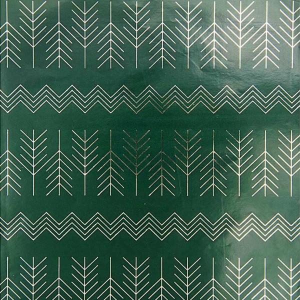 Papier d'emballage zigzag FSC vert-argent