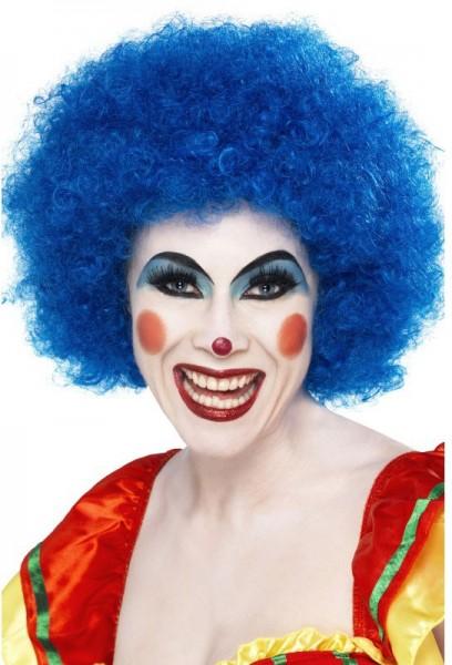 Perruque de clown afro bleue
