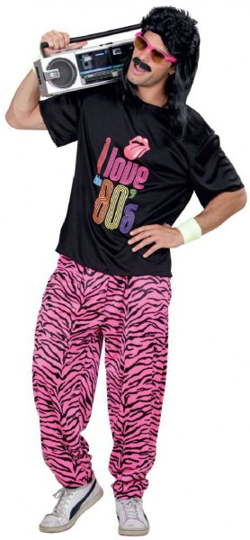 80er Jahre Zebrahose Pink Schwarz