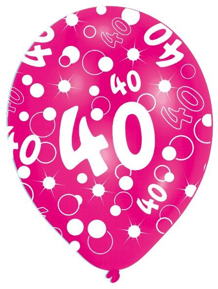 6 Luftballons Bubbles 40.Geburtstag Bunt 27,5cm 7