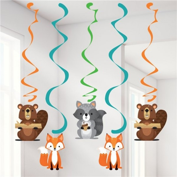 5 forest animal party spiral hangers 99cm