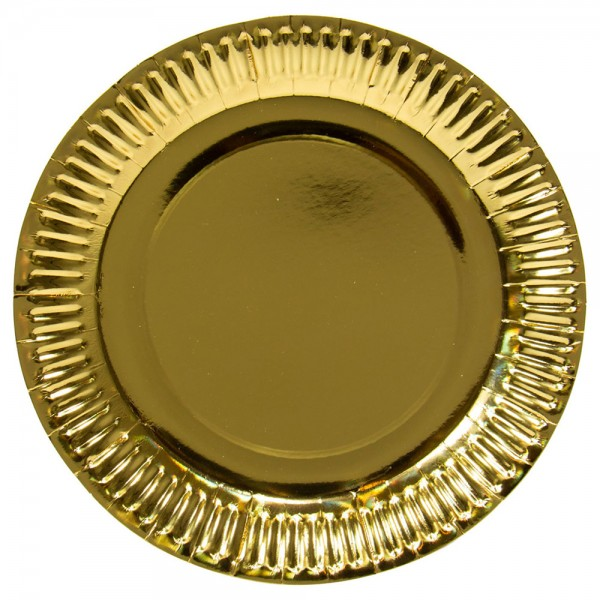 8 gold metallic plates 23cm