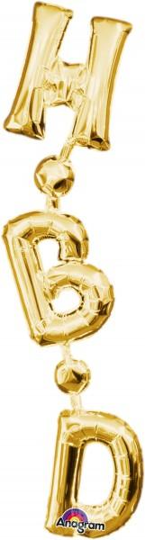 Folienballon Schriftzug H-B-D vertikal in Gold 17x81cm