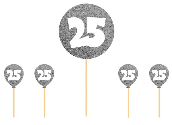 Party picker 25 glitter silver 5 pieces
