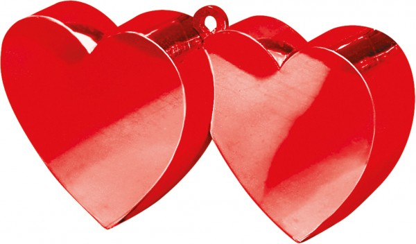 Double heart balloon weight in red