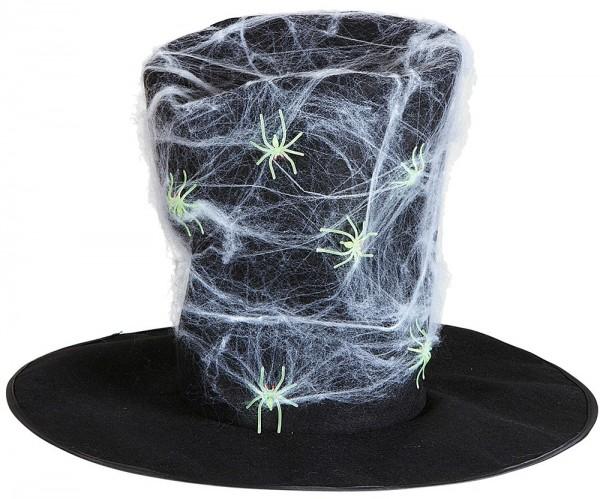 Chapeau en toile d'araignée avec araignées luisantes