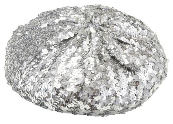 Silberne Pailletten Baskenmütze