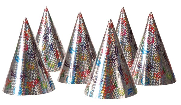 6 Shooting Star Party Hats Silver 16cm