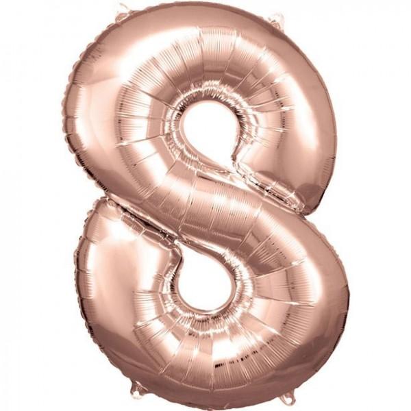 Rosé gouden nummer 8 folieballon 86cm