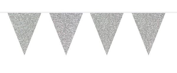 Pennant chain glitter silver 6m
