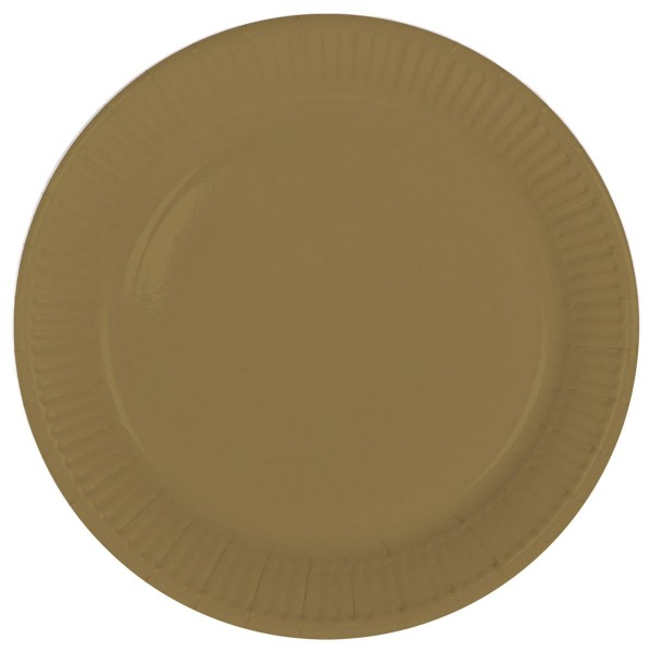8 platos de papel Cleo dorado 23cm