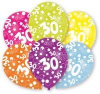 6 Luftballons Bubbles 30.Geburtstag bunt 27,5cm
