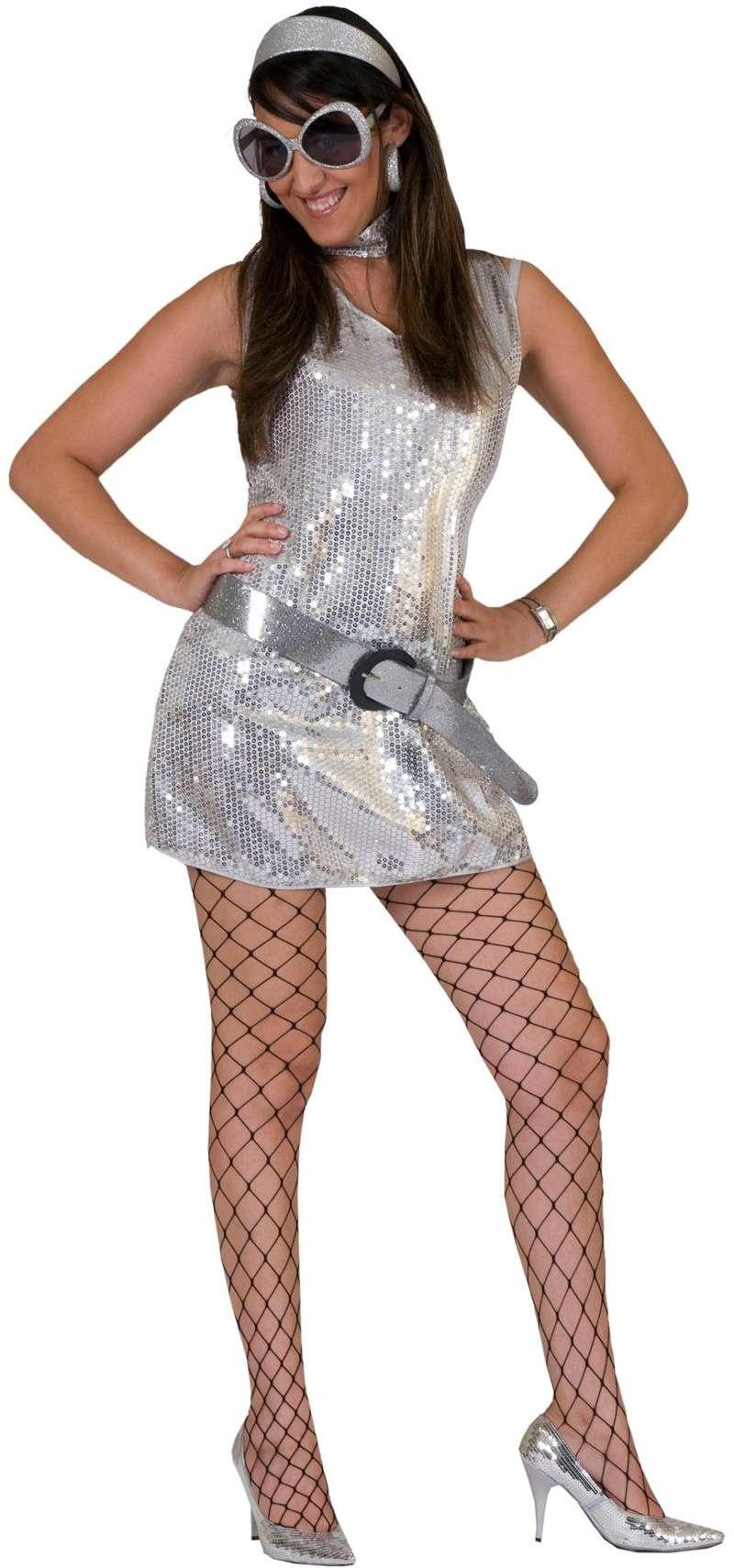 Disco Glamour Kleid Silber