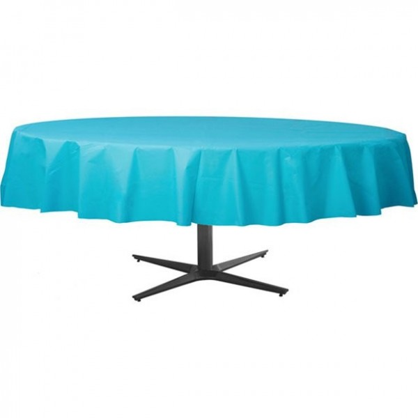 Plastic tablecloth round turquoise 2.1m