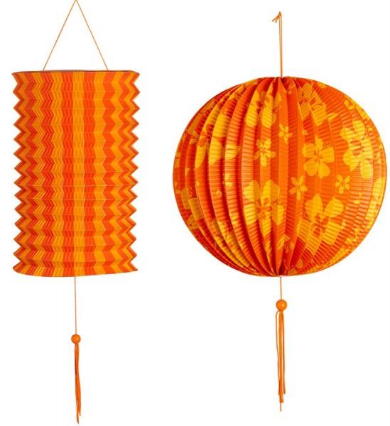 2 Blumen Deko Laternen Orange-Gelb