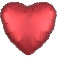Ballon coeur satin rouge 43cm