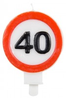 Traffic sign 40 cake candle