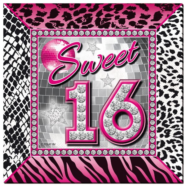 20 Blingbling Sweet 16 Servietten 25cm