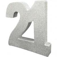 Silberne Zahl 21 Tischdeko glitzernd