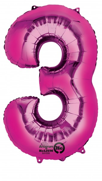 Number balloon 3 pink 88cm