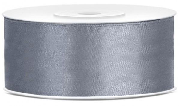 25m satin gift ribbon silver gray 25mm wide