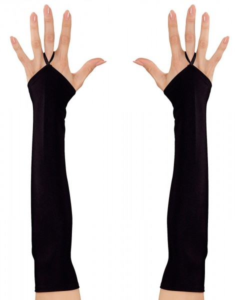 Long fingerless satin gloves