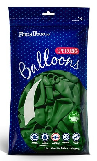 10 party star balloons fir green 27cm