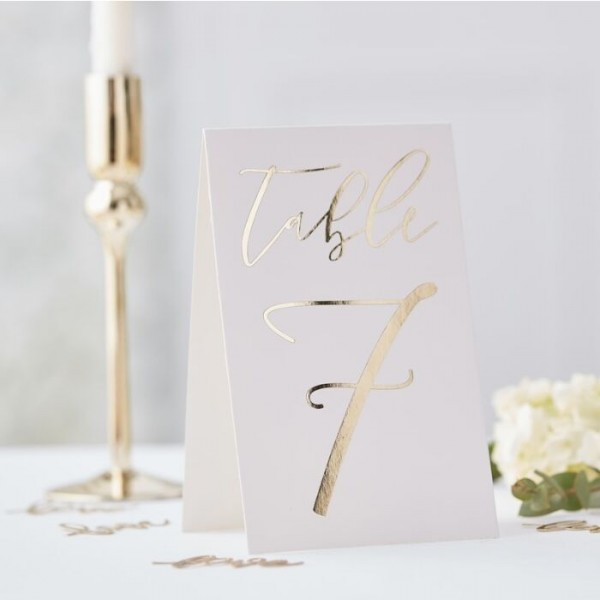 Gold wedding place cards with numbers 1 to 12