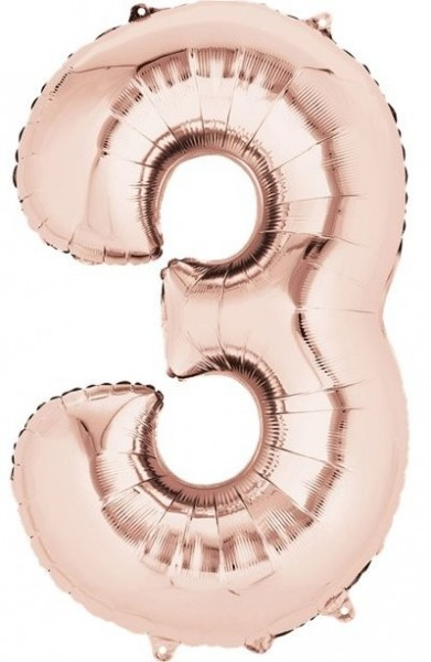 Globo laminado numero 3 oro rosa 41cm