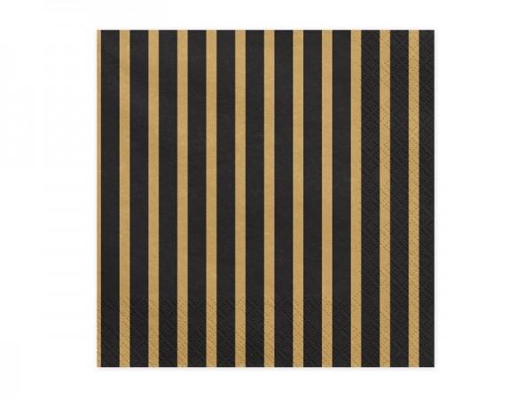20 Servietten Black & Golden Stripes 1
