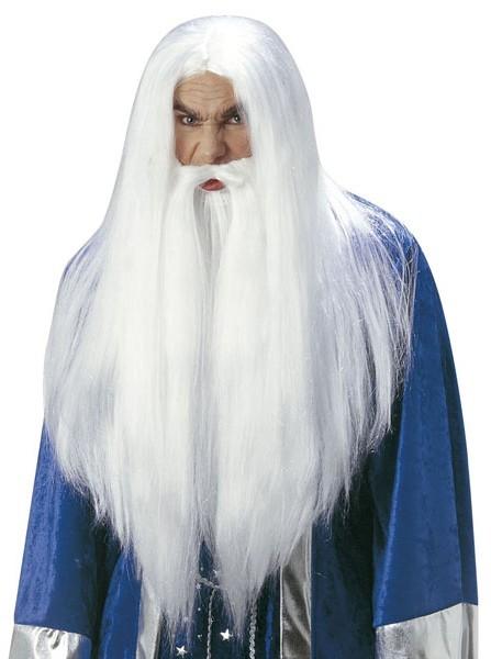 Perruque et barbe de magicien blanc messieurs
