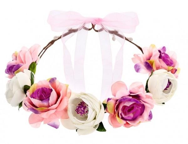Couronne de fleurs de printemps rose 17cm