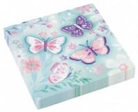 16 serviettes de jardin papillon 33cm