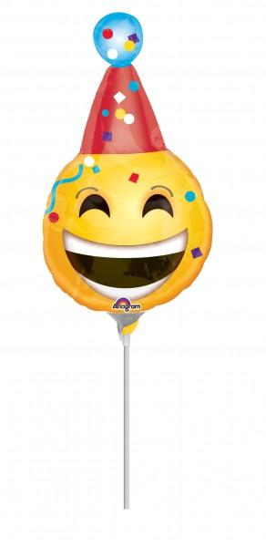 Lachender Smiley Mit Partyhut Stabballon Partyde
