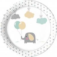 8 Baby Elefant Pappteller 23cm