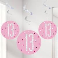 6 Pink Dots 13th Birthday Spiralhänger 80cm
