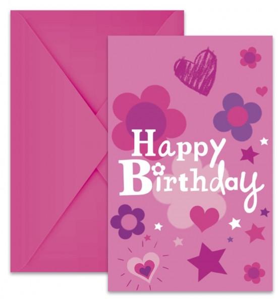 6 Birthday Girl Einladungskarten