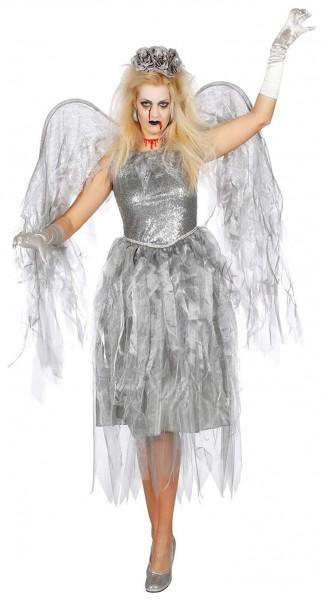Silbernes Schauriger Engel Damenkostüm Mit Flügel
