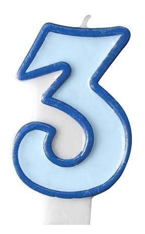 Numero candela 3 blu 7 cm
