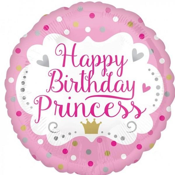 Ballon en aluminium princesse anniversaire 46cm