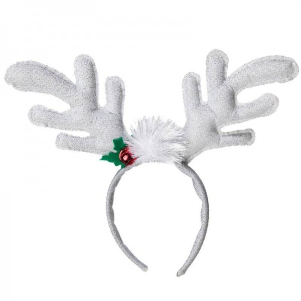 Silver headband with reindeer antlers & Christmas decorations