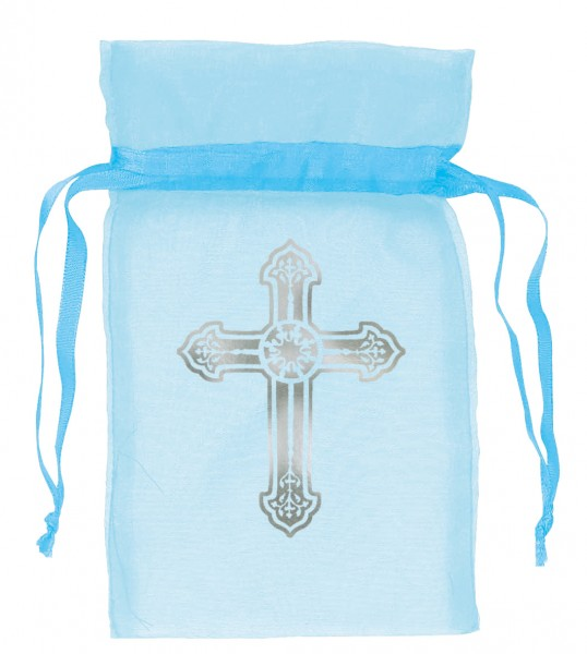 12 gift bags Holy Communion blue 8.8cm