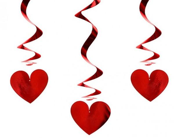 3 metalen hartvormige spiraalhanger 60cm