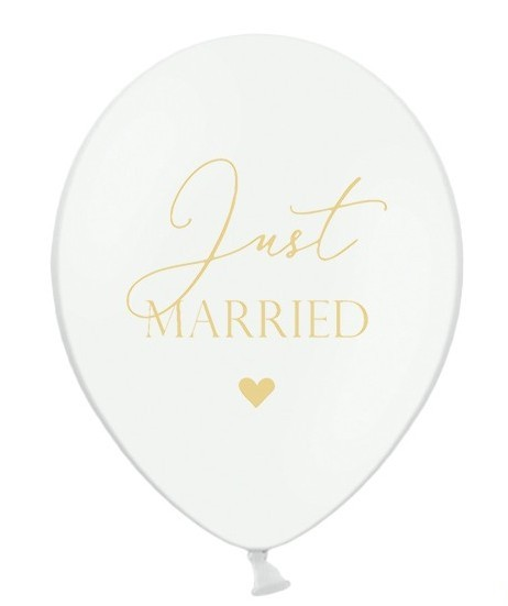 50 balloons just married white 30cm