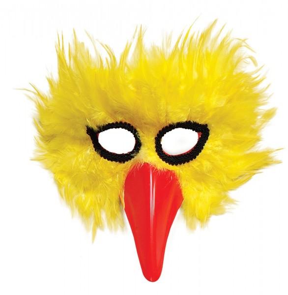 Maschera di uccello con piume